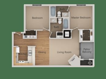 2 bedroom 2 bath Floor Plan at California Place Apartments, Sacramento, CA, 95823