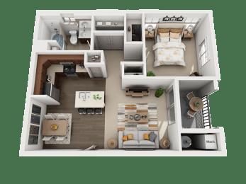 1 Bedroom 1 Bathroom Floor Plan at Four Seasons Apartments & Townhomes, North Logan