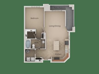 1 Bed 1 Bath Floor Plan at San Marino Apartments, South Jordan