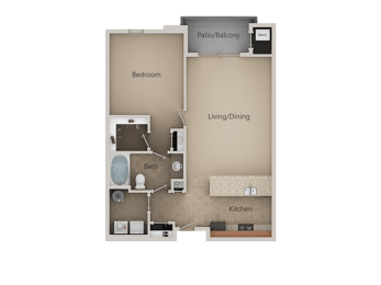 1 Bedroom 1 Bathroom Floor Plan at San Marino Apartments, South Jordan, UT
