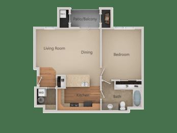 1Bed_1Bath A at San Tropez Apartments & Townhomes, Utah