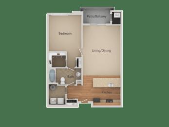 1Bed_1Bath C at San Tropez Apartments & Townhomes, South Jordan, UT, 84095