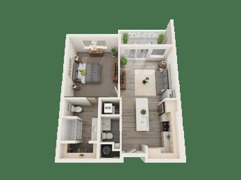 One Bed One Bath Floor Plan at Soleil LoftsApartments, Herriman, UT