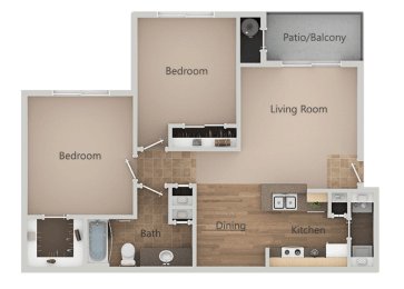 2 Bedroom 1 Bath Floor Plan at RemingtonApartments, Midvale, UT
