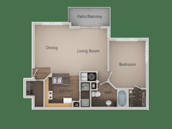 1 Bedroom 1 Bathroom Floor Plan at PinehurstApartments, Midvale, 84047