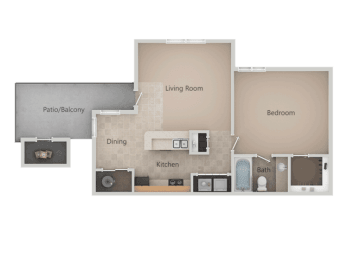 1 Bed 1 Bath Floor Plan at Promontory PointApartments, Sandy