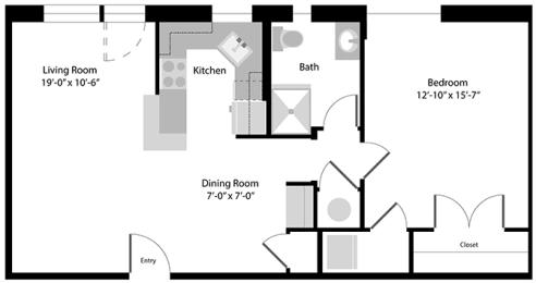 Floor Plan  1 Bed, 1 Bath 760 SF