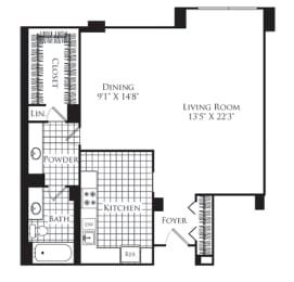 Floor Plan  Studio, 1 Bath 772 SF S1
