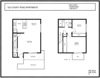 Old County Road 2 Bed 1 Bath Townhome 1008 square feet