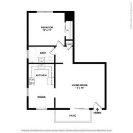 1 bedroom Floor Plan at Parkside Apartments, Davis, CA