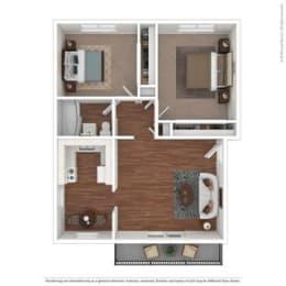 2 bedroom Floor Plan at Parkside Apartments, Davis, California