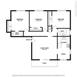 2d black and white 2 bed floor plan at Parkside Apartments, California, 95616