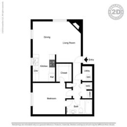 1 Bed 1 Bath Floor Plan at Cypress Landing, Salinas, CA, 93907