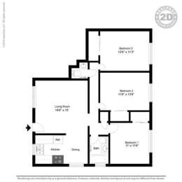 3 Bed 2 Bath Floor Plan at Colonial Garden Apartments, San Mateo, CA