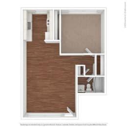 One Bedroom Floor Plan at Peninsula Pines Apartments, South San Francisco