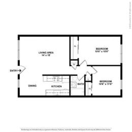 2 bedroom Floor Plan at Peninsula Pines Apartments, South San Francisco
