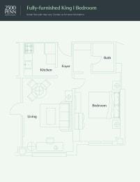 Floor Plan Fully-furnished King 1 Bedroom