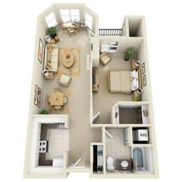 Floor Plan Mid 1BR 1BA
