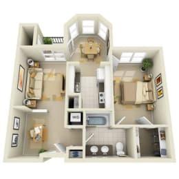 Floor Plan Mid 1BR 1BA Den