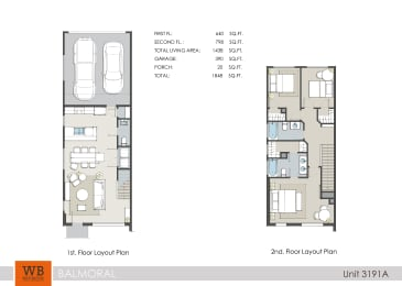 3191A Floor Plan at Clearwater at Balmoral Apartments, TBD MANAGEMENT, Texas