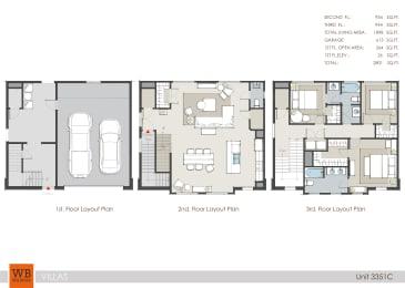 3351C Floor Plan at Villas at Kings Harbor Apartments, TBD MANAGEMENT, Kingwood