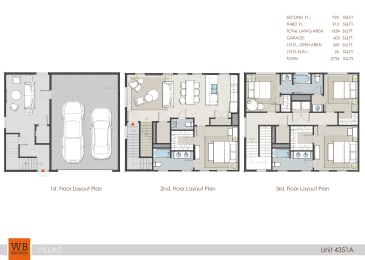 4351A Floor Plan at Villas at Kings Harbor Apartments, TBD MANAGEMENT, Texas, 77345