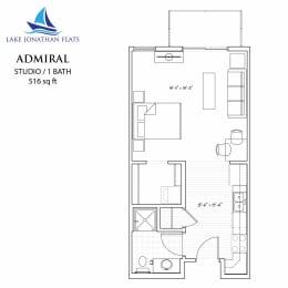 Floor Plan  Studio Floor Plan at Lake Jonathan Flats, Chaska, MN