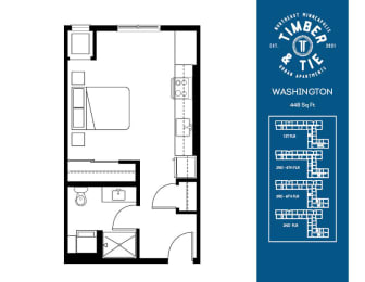 Floor Plan  Studio Washington floorplan at Timber and Tie Apartments, MN, 55343