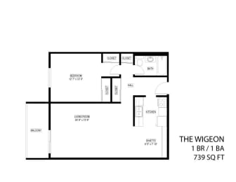 Floor Plan  The Wigeon 1 bedroom floor plan drawing with extended cabinetry