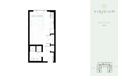 0 Bed 1 Bath Floor Plan at Viridium Apartments, 721 N Third Street, Minnesota