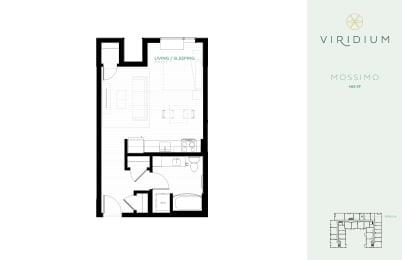 studio floor plan mossimo at Viridium Apartments, Minneapolis, Minnesota