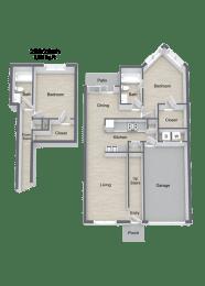 Beckley_2 Bedroom Townhome Floor Plan