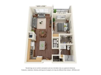 One Bedroom - A2 Floor Plan at Covington Crossings - 55+ Senior Living, Covington, Georgia