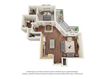 One Bedroom - A3 Floor Plan at Covington Crossings - 55+ Senior Living, Covington