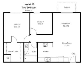 Crosswinds_2 Bedroom Floor Plan
