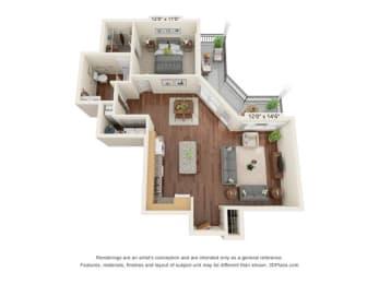 Stonepointe_1 Bedroom Floor Plan_A3