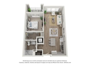 Floor Plan  Reef at Riviera_1 Bedroom Floor Plan_1A