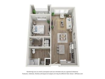 Reef at Riviera_1 Bedroom Floor Plan_1A-ADA