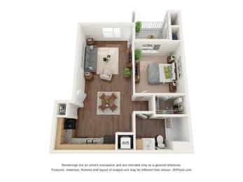 One Bedroom (A1) Floor Plan at Ventura at Tradewinds, Texas