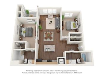 Two Bedroom (B1) Floor Plan at Ventura at Tradewinds, Midland, TX, 79706