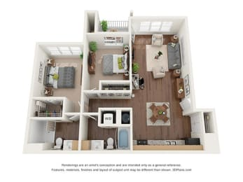 Two Bedroom (B2) Floor Plan at Ventura at Tradewinds, Texas