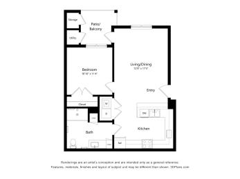 Crossroad Commons_1 Bedroom A-ADA_2D Floor Plan