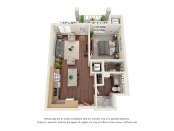 Oaks Landings_3D_1 Bedroom_1A