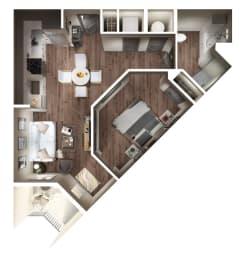 Studio A Floor Plan at Pier 33 Apartments, Wilmington, NC, 28401