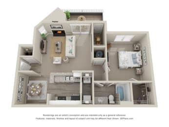 1 Bedroom C 1 Bath Floor Plan at Amberwood at Lochmere   Amberwood at Lochmere East, Cary