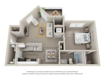 1 Bedroom A 1 Bath Floor Plan at Amberwood at Lochmere   Amberwood at Lochmere East, Cary, 27518