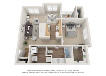 Biscoe Floor Plan at Beacon Place Apartments