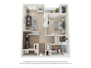 1 Bedroom D 1 Bath Floor Plan at Beacon Place Apartments, Maryland