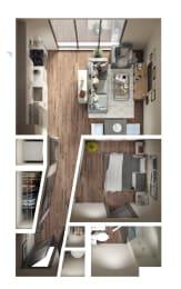 Studio B Floor Plan at Pier 33 Apartments, Wilmington, NC