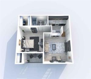 1 Bedroom C 1 Bath Floor Plan at Sierra Park, Dallas, TX, 75228